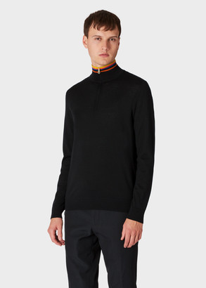 Paul Smith Men's Black Funnel Neck Merino Wool Half-Zip Sweater With 'Artist Stripe' Collar