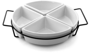 Gibson Gracious Fine Ceramic Dining Four Section Tray Set with Metal Rack