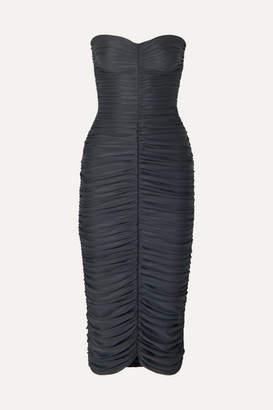 Norma Kamali Slinky Strapless Ruched Stretch-jersey Midi Dress - Gray