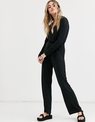 Noisy May Festive long sleeve wrap jumpsuit