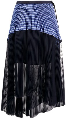 Sacai Asymmetric Striped Panel Skirt