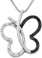 FINE JEWELRY 1/8 CT. T.W. White and Color-Enhanced Black Diamond Sterling Silver Butterfly Pendant Necklace