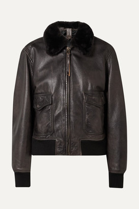 RE/DONE 40s Shearling-trimmed Leather Jacket - Black