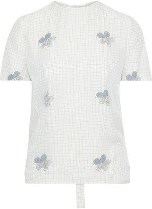 Victoria Beckham Layered Ruched Chiffon And Printed Crepe De Chine T-shirt