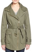 GUESS Women's Belted Cotton Twill Moto Jacket