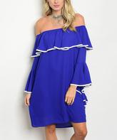 Royal Blue Ruffle-Accent Off-Shoulder Dress