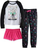 Girls 4-16 SO® Photoreal Dog Tee, Shorts & Polka-Dot Pants Pajama Set