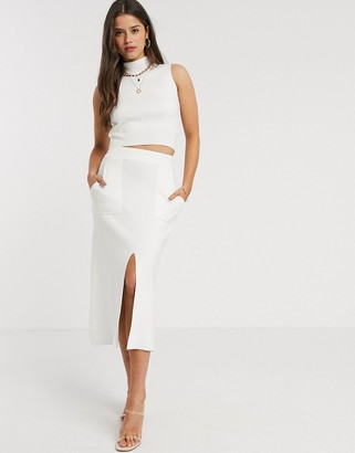 Fashion Union knitted midi skirt with split two-piece