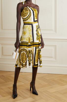VERSACE - One-shoulder Embellished Printed Jersey Midi Dress - Gold