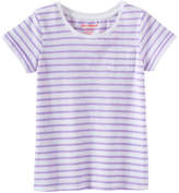 Joe Fresh Kid Girls' Stripe Tee, Light Neon Purple (Size M)