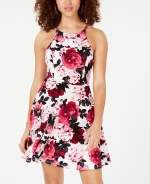 Speechless Juniors' Printed Scuba Fit & Flare Dress, Created for Macy's
