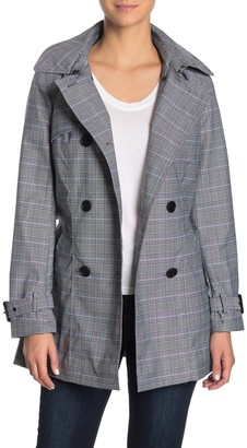BCBGMAXAZRIA Plaid Print Hooded Trench Coat