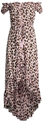 Tiare Hawaii Riveria Leopard Off-The-Shoulder Cover-Up