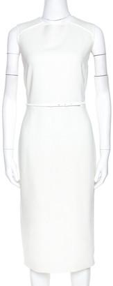 Max Mara Off White Stretch Wool Sleeveless Belted Dress M