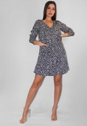 Missguided Tall Black Dalmatian Button Down Smock Dress