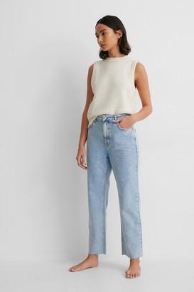 NA-KD Rigid High Waist Straight Cropped Jeans
