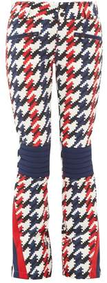Perfect Moment Houndstooth-print Flared Ski Trousers - Womens - Navy
