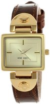 Nine West Women's NW1086CHBN Gold-Tone and Brown Strap Watch