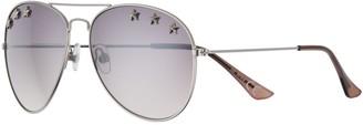 So Women's 58mm Aviator Sunglasses with Star Studded Lenses