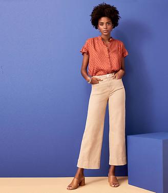 LOFT Welt Pocket High Waist Wide Leg Crop Jeans in Chai Latte