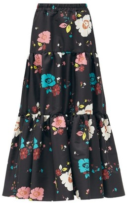 La DoubleJ Big Floral-print Cotton-poplin Skirt - Black Multi