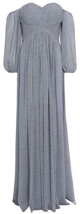 Halston Off-the-shoulder Pintucked Printed Georgette Gown