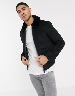 Calvin Klein lumberjack wool bomber jacket-Black
