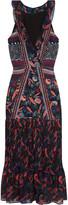Saloni Amy printed silk-chiffon midi dress