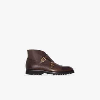 Tom Ford Brown Leather Buckle Strap Ankle Boots