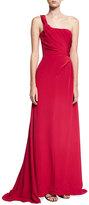 Carolina Herrera One-Shoulder Pleated Silk Gown, Red