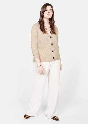 MANGO Violeta BY Button knit cardigan beige - XS - Plus sizes