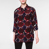 Paul Smith Women's Navy 'Rose' Print Silk Shirt