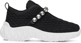 Miu Miu Matelasse Crystal-Embellished Sneakers