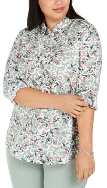 Charter Club Plus Size Floral-Print Shirt, Created for Macy's