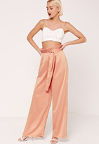 Missguided Paper Bag Waist Wide Leg Trousers Orange