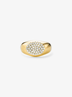 Michael Kors Precious Metal-Plated Sterling Silver Pave Signet Ring