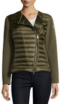 Moncler Reo Asymmetric-Zip Quilted Down Cardigan