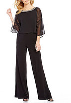 Sangria Chiffon 3/4 Sleeve Beaded Neckline Jumpsuit
