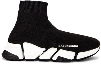 Balenciaga Speed 2 Low Top Sneakers in Black & White | FWRD
