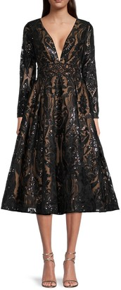 Mac Duggal Sequin Embroidered A-Line Dress