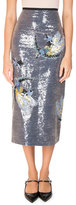 Erdem Sacha Bird Sequined Midi Skirt, Blue