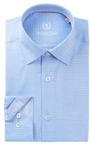 Bugatchi Trim Fit Grid Pattern Dress Shirt
