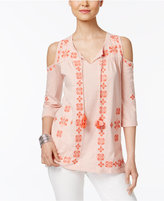 Style&Co. Style & Co Embroidered Cold-Shoulder Top, Created for Macy's