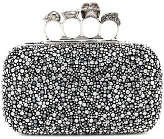 Alexander McQueen Four Ring crystal-embellished clutch