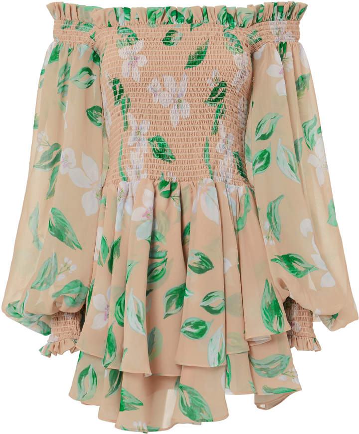 Caroline Constas Blossom Print Mini Dress