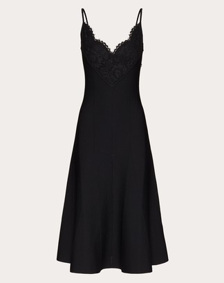 Valentino Stretch Viscose And Heavy Lace Knitted Dress Women Black Viscose 75%, Elastane 25% M
