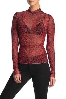 AFRM Mock Neck Long Sleeve Mesh Top