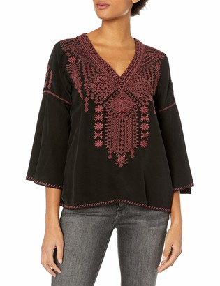 3J Workshop by Johnny Was Women's Silk Embroidered Swing Blouse