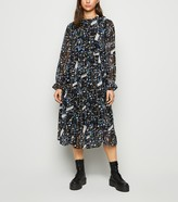 New Look JDY Floral High Neck Chiffon Midi Dress