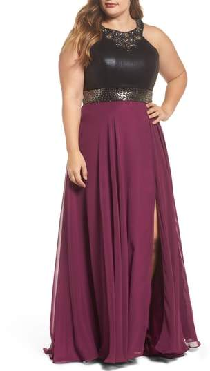 Mac Duggal Beaded High Neck Gown